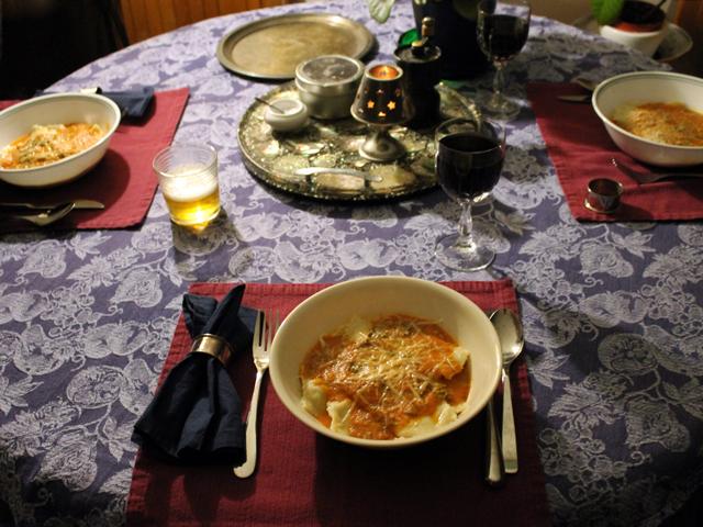 homemade ravioli dinner
