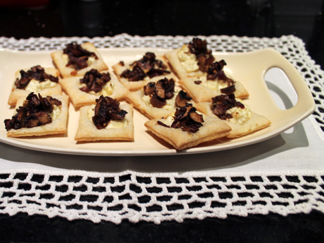 mushroom goat cheese feta on puff pastry appetizer