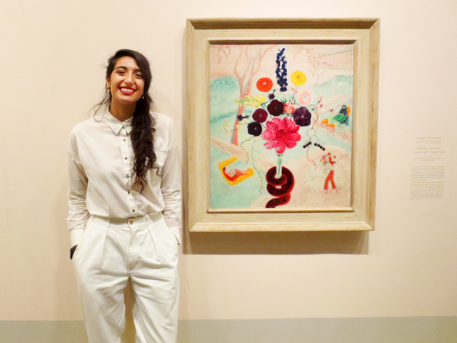 poet cassandra myers at blank canvas give me a beat show within florine stettheimer exhibition at ago toronto