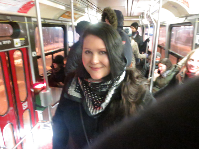 riding the street car on new years eve thanks to corby spirit and wine free ttc