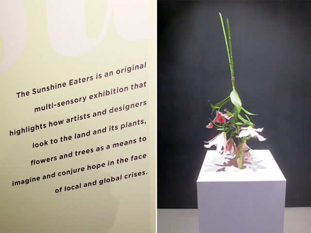 sunshine eaters art exhibition at onsite gallery toronto painted bronze lilies by tony matelli