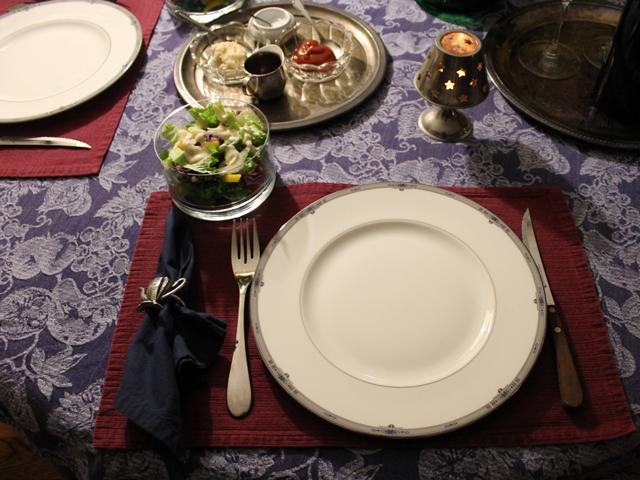 table set for birthday dinner