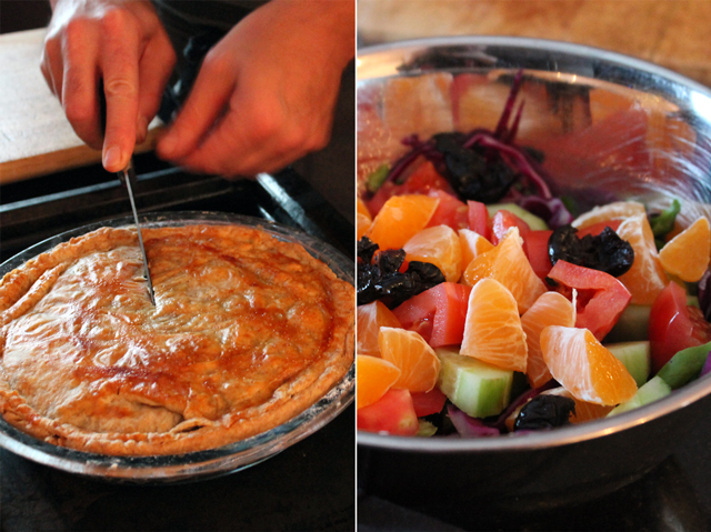 tourtiere and salad christmas eve