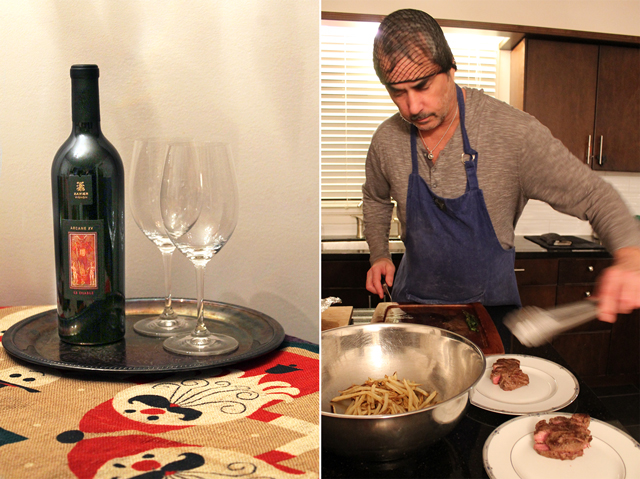 wine Xavier Vignon Arcane XV Le Diable 2015 and flat iron steak jamie oliver technique