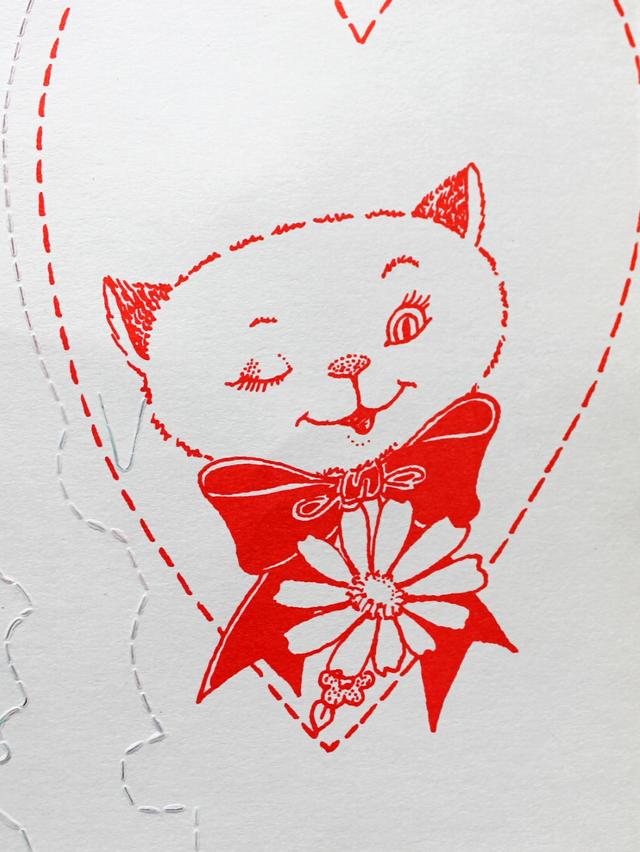 cat winking vintage valentine
