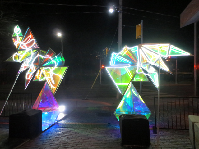 gate into distillery district during light festival