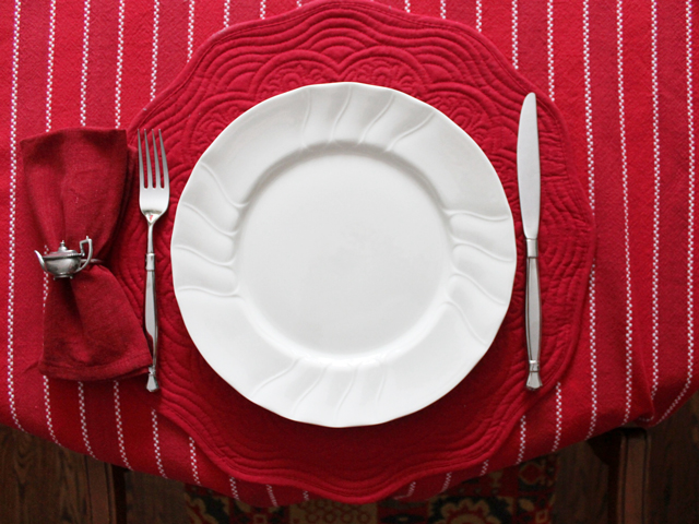 table setting valentine dinner thrifted tablecloth