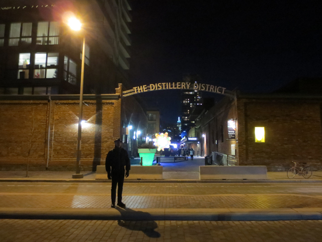 toronto distillery district at night for the festival of light