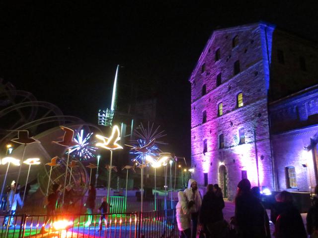toronto distillery district at night light fest
