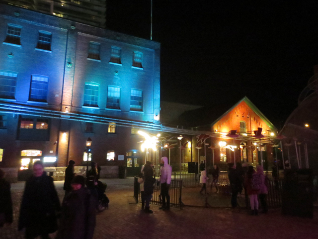 toronto distillery district during the light festival 2018