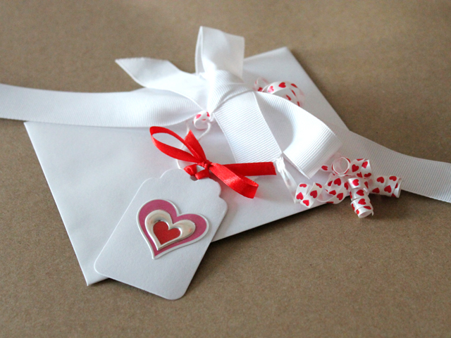 valentine gift ribbon and handmade tag