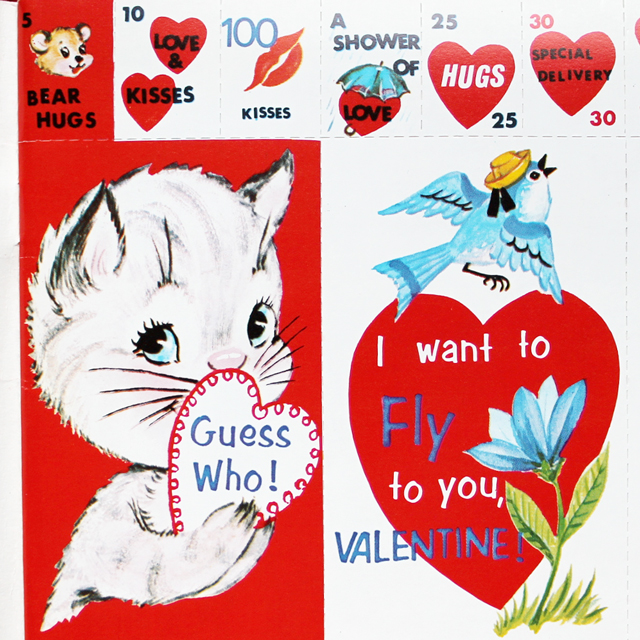 vintage valentine cards sixties cat