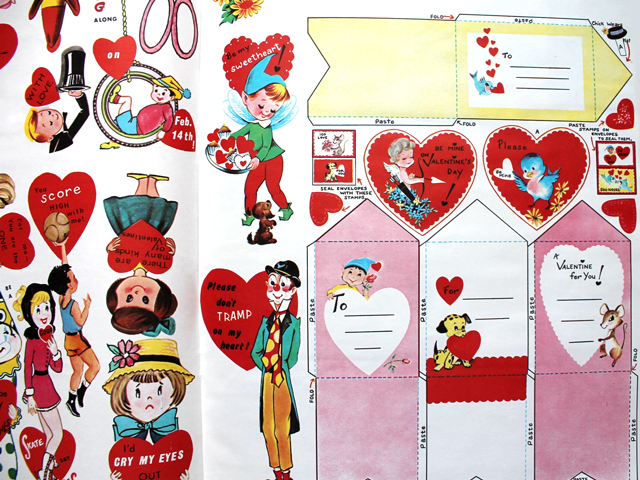 vintage valentines for children with make yourself envelopes