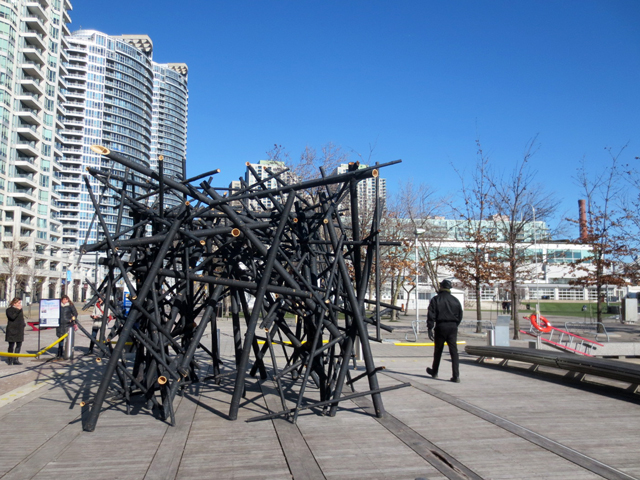 Toront waterfront ice breakers interactive art installations ensemble black bamboo by bennet marburger and ji zhang from china