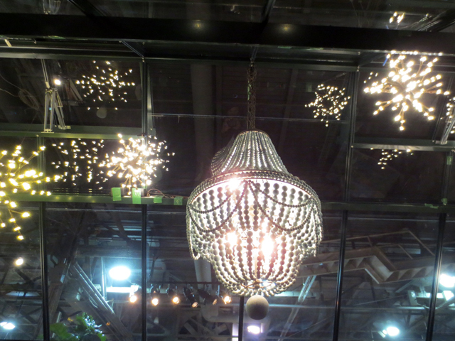 chandeliers in the garden at canada blooms show toronto