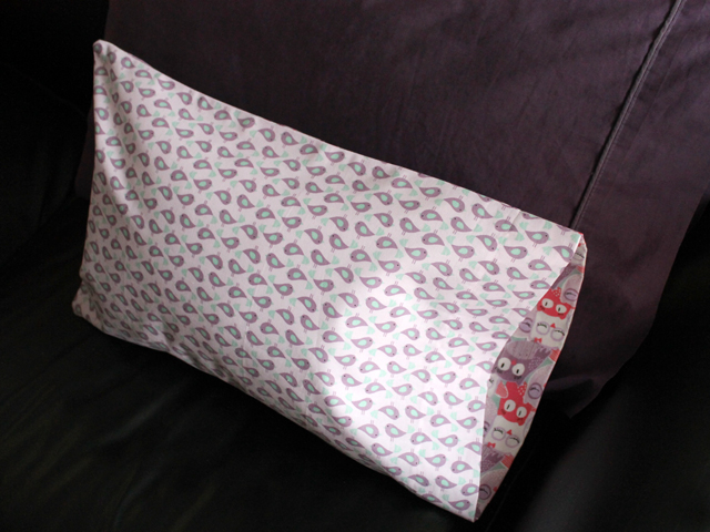 child sized pillow with handmade pillow case