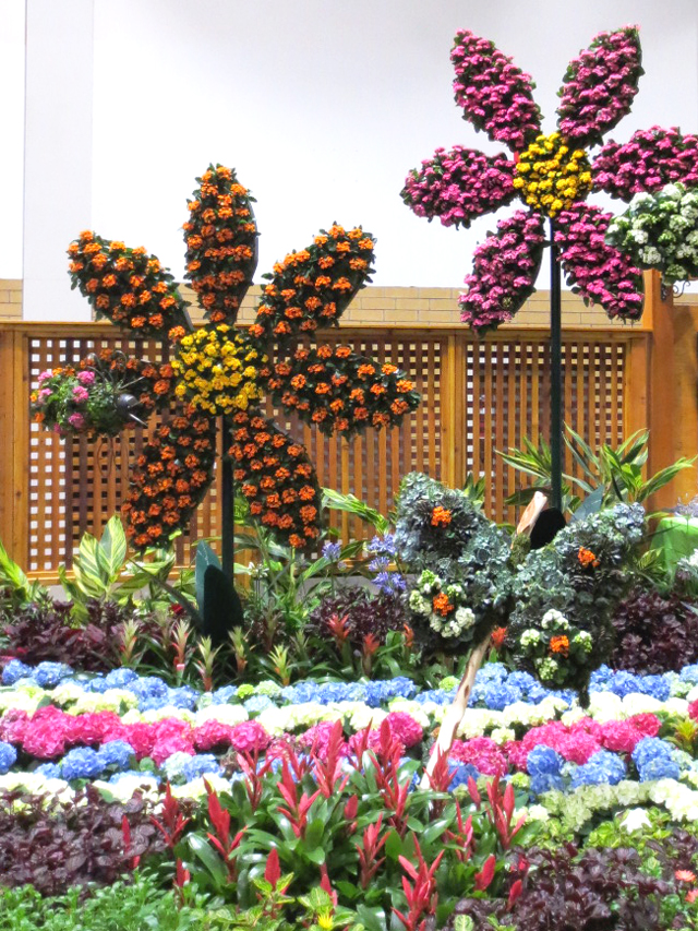 display made of flowers canada blooms garden show toronto