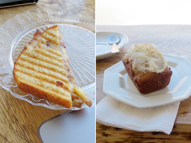 grilled sandwich and lemon mini loaf muffin at noble coffee co bloor street toronto