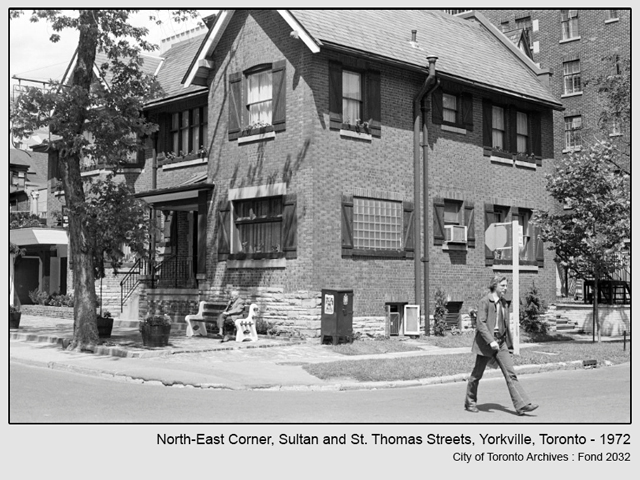 historic photograph toronto sultan and st thomas streets north east corner 1972 from city of toronto archives