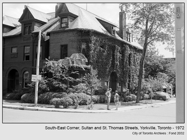 historic photograph toronto sultan and st thomas streets south east corner 1972 from city of toronto archives