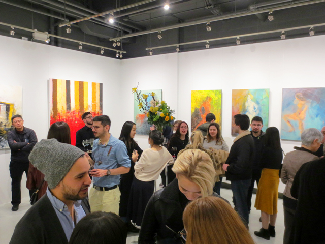 paintings by jin zuo at c9 gallery opening party toronto
