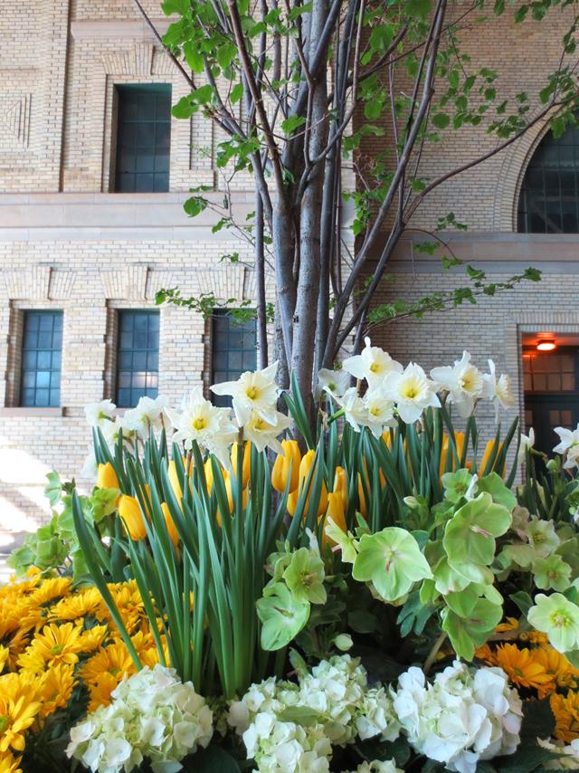planter at entrance of canada blooms exhibition hall cne toronto