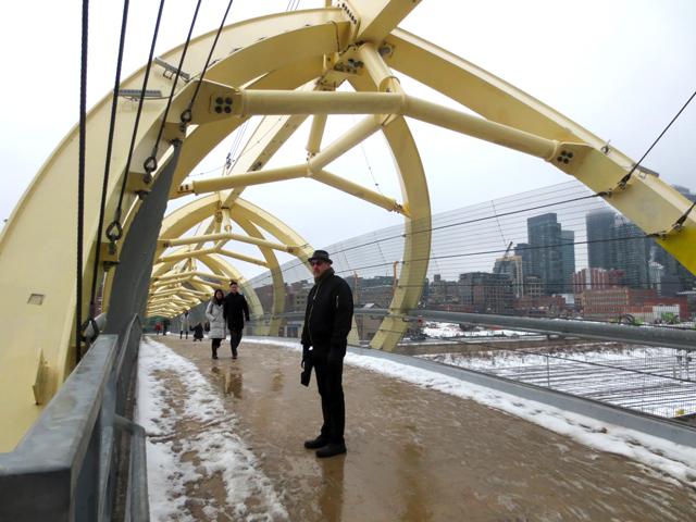 april snow in toronto on yellow bridge Puente de Luz toronto