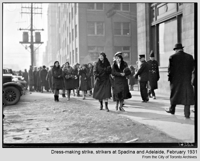dressmakers on strike spadina avenue near adelaide toronto historic photograph 1931
