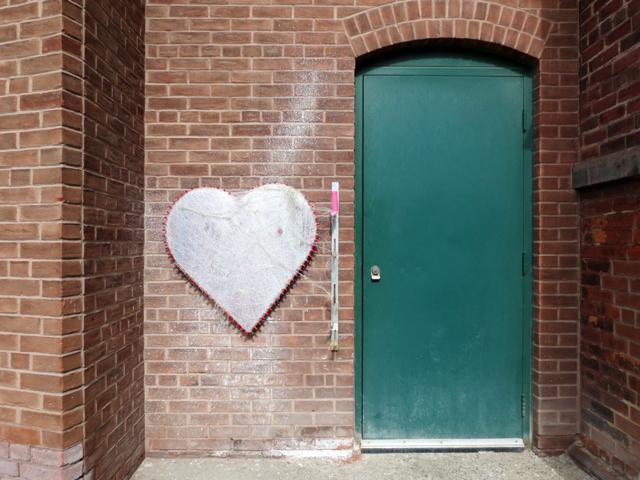 green door and heart