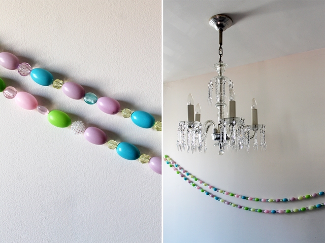 handmade easter garland beads and blowmold eggs