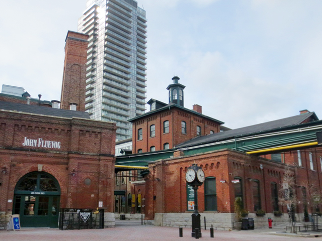 historic buildings mixed with new toronto distillery district