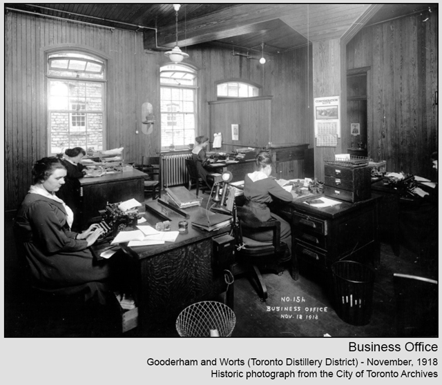 historic photograph toronto distillery district 1918 business office