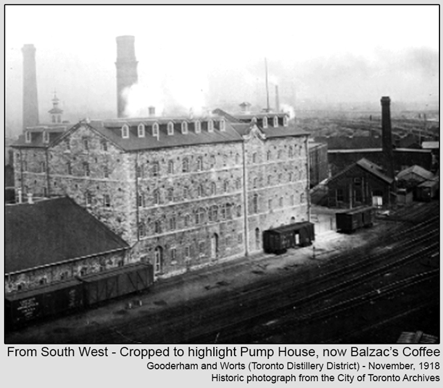 historic photograph toronto distillery district 1918 cropped to highlight pumphouse now balzacs coffee