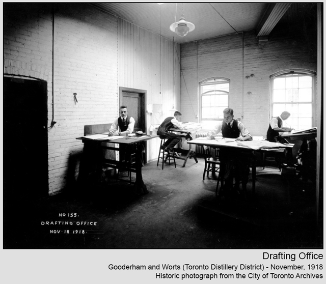historic photograph toronto distillery district 1918 drafting office