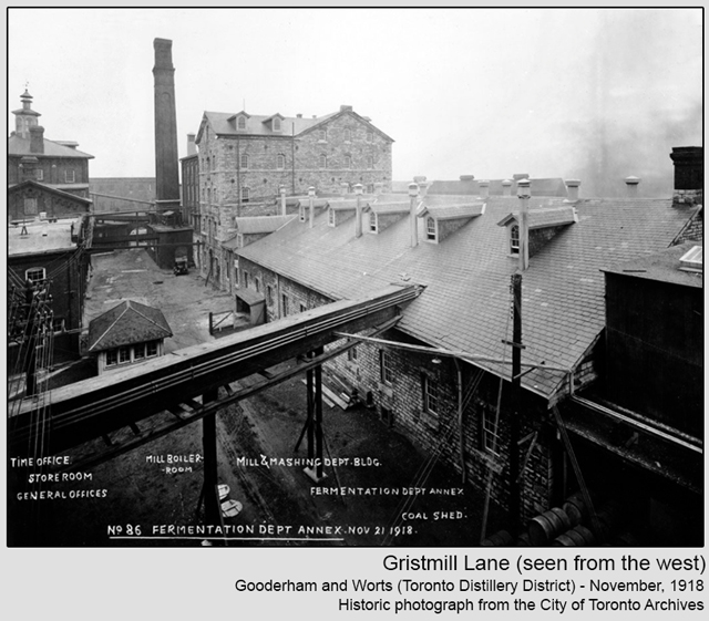 historic photograph toronto distillery district 1918 gristmill lane seen from west