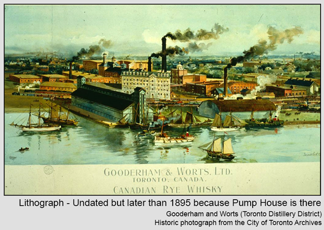 historic toronto photo of lithograph undated but assumed after 1895 because pump house is there