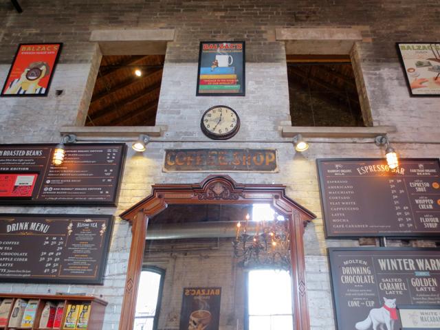 looking up at balzacs cafe distillery district toronto