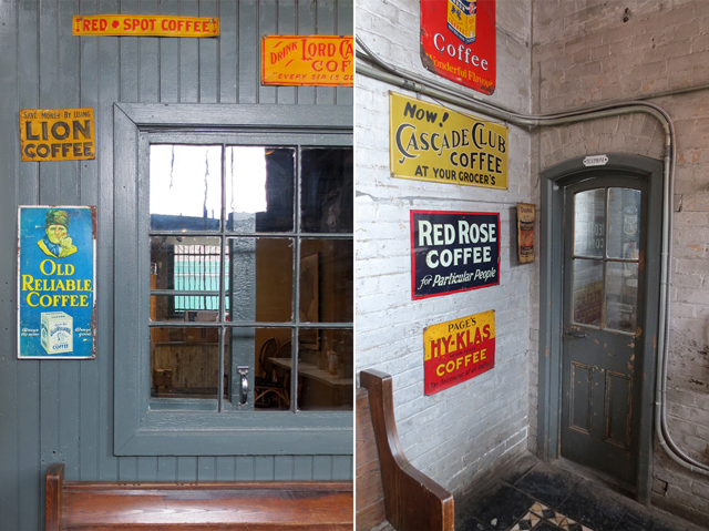 old coffee signs and details balzacs cafe distillery district toronto