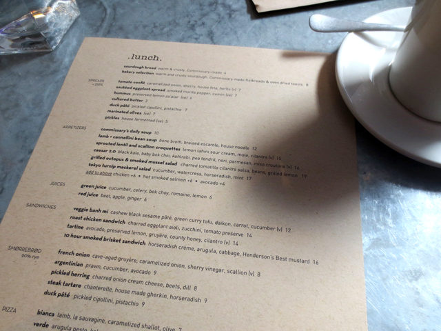 photo of lunch menu at drake commissary