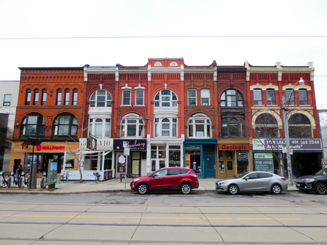 strip of historic buildings queen street west toronto near spadina avenue