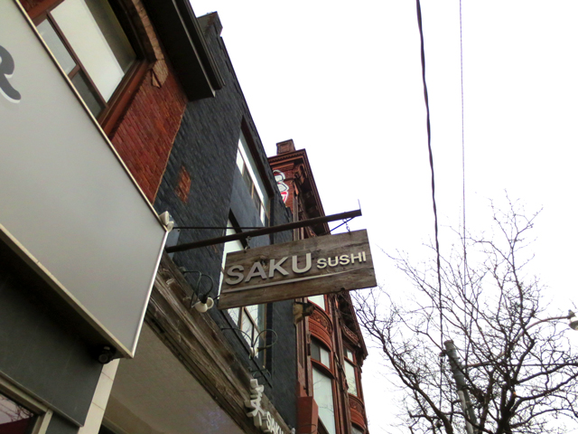 sushi restaurant sign on queen street west toronto