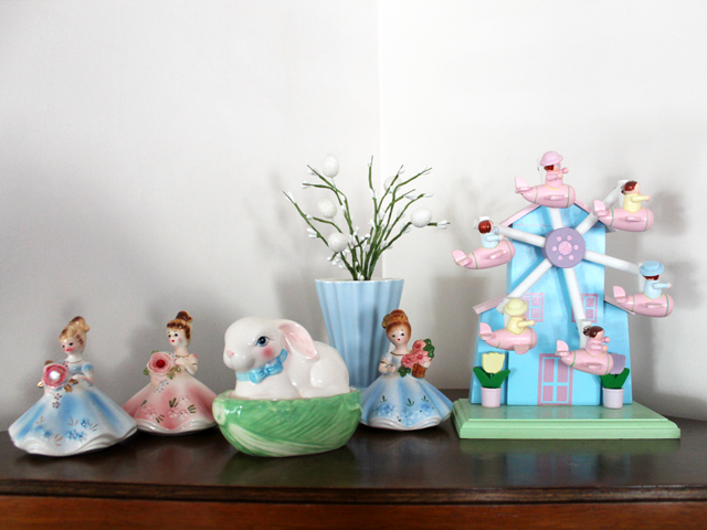vintage and thrifted figurines easter display