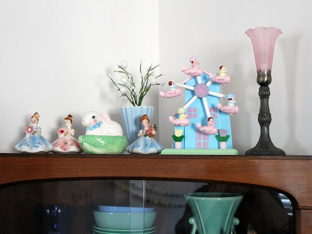 vintage and thrifted pastel easter display