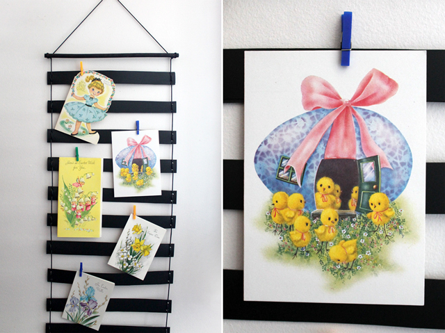 vintage easter cards on a handmade greeting card display wallhanging