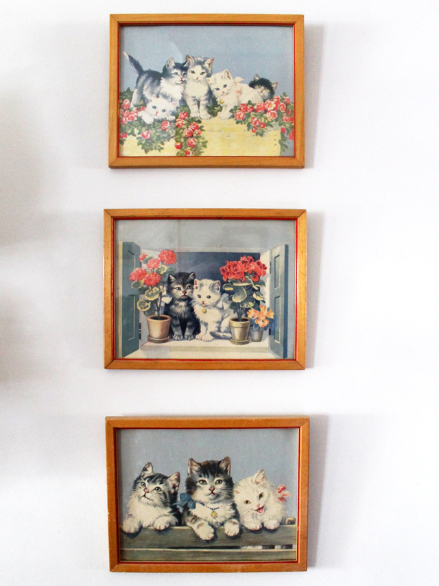 vintage prints kittens