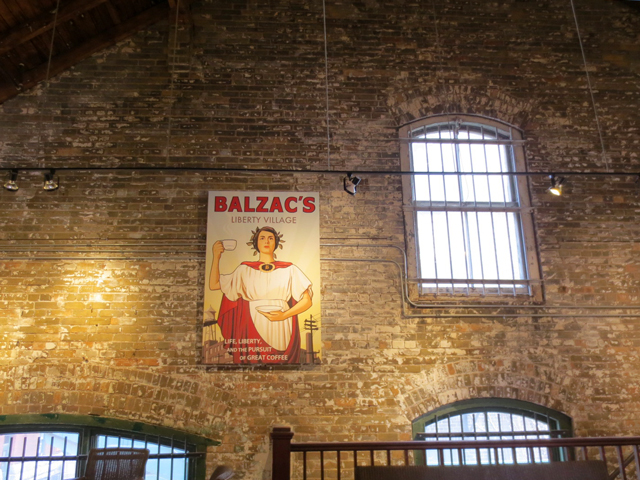 wall and windows upstairs at balzacs coffee shop distillery district toronto