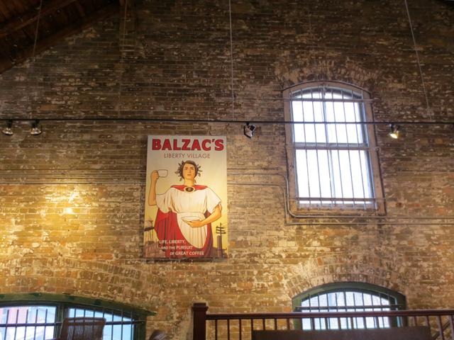 wall and windows upstairs at balzacs coffee shop distillery district toronto