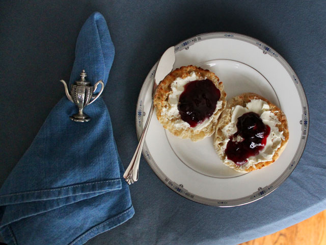 english muffin cream cheese and cherry jam breakfast on royal wedding day