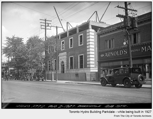 historical photograph toronto hydro station in parkdale when being built in 1927