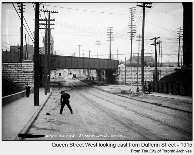 historical photograph toronto queen street looking east from dufferin gladstone hotel in background 1915